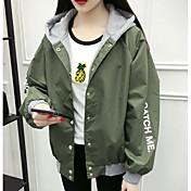 レディース 日常 春 ジャケット,現代風 フード付き プリント レタード レギュラー その他 長袖