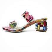 Mujer Zapatos de taco bajo y Slip-Ons Suelas con luz TPU Verano Casual Vestido Paseo Suelas con luz Cristal Talón translúcido Melocotón5