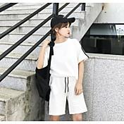 Mujer Casual Deportes Casual/Diario Verano T-Shirt Pantalón Trajes,Escote Redondo Un Color A Rayas Manga Corta strenchy