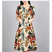 Mujer Línea A Corte Ancho Vestido Noche Casual/Diario Bonito Chic de Calle Tejido Oriental,Floral Flores / Botánica Escote Redondo Maxi