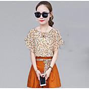 Mujer Casual Diario Casual Verano T-Shirt Pantalón Trajes,Escote Redondo Un Color Estampado Manga Corta Inelástica