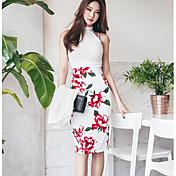 Mujer Moderno / Contemporáneo Diario Verano Tank Top Vestidos Trajes,Halter Floral Estampado Sin Mangas