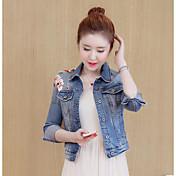 Feminino Jaqueta jeans Casual Simples Outono,Sólido Estampado Curto Poliéster Colarinho de Camisa Manga Longa Bordado