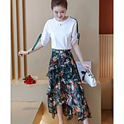 Mujer Moderno Diario Noche Otoño T-Shirt Falda Trajes,Escote Redondo Estampado Manga Corta Microelástico