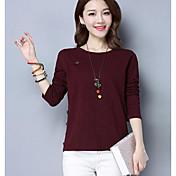 Mujer Simple Casual/Diario Noche Primavera Camiseta,Escote Redondo Un Color Manga Larga Algodón Medio