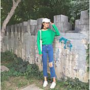Mujer Sencillo Tiro Medio Microelástico Vaqueros Pantalones,Ajustado a la Bota Un Color
