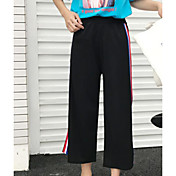 Mujer Sencillo Tiro Medio Microelástico Perneras anchas Pantalones,Corte Ancho Bloques