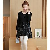 Mujer Simple Casual/Diario Camiseta,Escote Redondo Bloques Manga Larga Poliéster