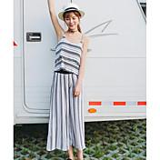 レディース カジュアル/普段着 夏 Tシャツ(21) パンツ スーツ,シンプル ストラップ ストライプ ノースリーブ