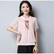 Mujer Tejido Oriental Casual/Diario Camiseta,Escote en Pico Bordado Manga Corta Poliéster