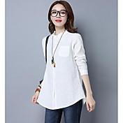 Mujer Simple Casual/Diario Camiseta,Escote Redondo Un Color Manga Larga Lino