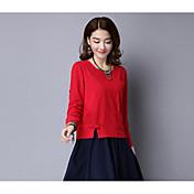 レディース カジュアル/普段着 Tシャツ,シンプル ラウンドネック ソリッド リネン 長袖