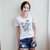 Mujer Sofisticado Casual/Diario Camiseta,Escote Redondo Estampado Manga Corta Algodón Poliéster