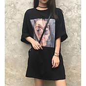Mujer Chic de Calle Noche Camiseta,Escote Redondo Estampado Media Manga Otro