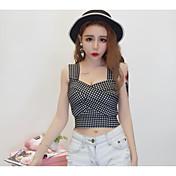 Mujer Simple Casual/Diario Camiseta,Con Tirantes Cuadrícula Manga Corta Algodón