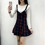 Mujer Simple Casual/Diario Otoño T-Shirt Falda Trajes,Escote Redondo A Rayas Manga Larga