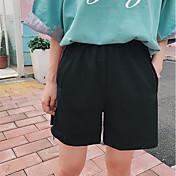 Mujer Sencillo Tiro Medio Microelástico Shorts Pantalones,Corte Recto Un Color A Rayas