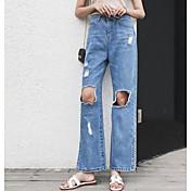 Mujer Sencillo Tiro Medio Microelástico Vaqueros Pantalones,Perneras anchas Un Color