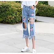 Mujer Sexy Tiro Alto Microelástico Vaqueros Chinos Pantalones,Delgado Floral