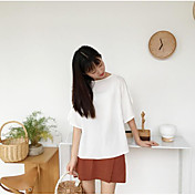 Mujer Simple Noche Camiseta,Escote Redondo Un Color Media Manga Lino