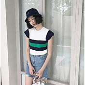 Mujer Regular Pullover Casual/Diario Un Color A Rayas Escote Redondo Manga Corta Algodón Verano Fino Microelástico