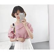 Mujer Simple Noche Camisa,Un Hombro Un Color A Rayas Manga Corta Algodón