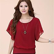 Mujer Simple Casual/Diario Camiseta,Escote Redondo Un Color Manga Corta Poliéster