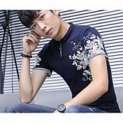 Hombre Simple Casual/Diario Camiseta,Cuello Italiano Floral Estampado Manga Corta Algodón Poliéster