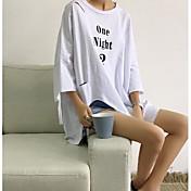 Mujer Chic de Calle Casual/Diario Primavera Camiseta,Escote Redondo Un Color Manga Larga Algodón