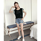 Mujer Simple Casual/Diario Camiseta,Escote Redondo Letra Sin Mangas Algodón