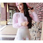 Mujer Regular Pullover Casual/Diario Un Color Escote Redondo Manga Larga Lana Algodón Otoño Invierno Grueso Elástico