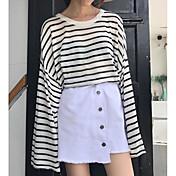 Mujer Regular Pullover Playa A Rayas Bloques Escote Redondo Manga Larga Otro Primavera Verano Medio Microelástico