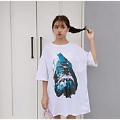 Mujer Bonito Noche Camiseta,Escote Redondo Estampado Media Manga Algodón