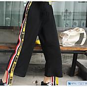 Mujer Activo Tiro Medio Microelástico Chinos Pantalones,Corte Recto Retazos