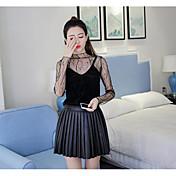 Mujer Simple Casual/Diario Camiseta,Escote Redondo Estampado Manga Larga Nailon
