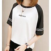 Mujer Simple Casual/Diario Verano Camiseta,Escote Redondo Bloques Manga Corta Algodón Medio