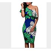 Mujer Línea A Corte Bodycon Vaina Vestido Noche Casual/Diario Trabajo Sexy Bonito Chic de Calle,Un Color Floral Geométrico Un HombroSobre