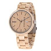 男性用 腕時計 ウッド 日本産 クォーツ 木製 ウッド バンド ラグジュアリー エレガント腕時計 アイボリー
