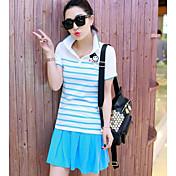Mujer Simple Casual/Diario Verano T-Shirt Falda Trajes,Cuello Camisero Un Color Manga Corta