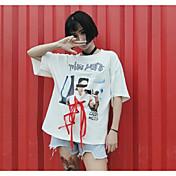 Mujer Sexy Casual/Diario Camiseta,Escote Redondo Un Color Estampado Manga Corta Algodón