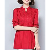 Mujer Simple Casual/Diario Camisa,Escote Chino Estampado Manga Larga Algodón Otro