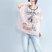 Mujer Bonito Casual/Diario Camiseta,Escote Redondo A Rayas Estampado Animal Letra Manga Corta Algodón