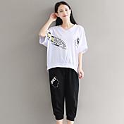 Mujer Activo Casual/Diario Camiseta,Escote en Pico Estampado Manga Corta Algodón