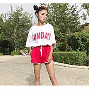 Mujer Simple Casual/Diario Verano T-Shirt Pantalón Trajes,Escote Redondo Refranes y citas Media Manga