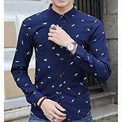 Hombre Simple Casual/Diario Camisa,Escote Cuadrado Estampado Manga Larga Algodón Otro