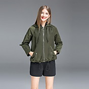 レディース お出かけ カジュアル/普段着 秋 トレンチコート,シンプル フード付き ソリッド レギュラー シルク リネン 長袖