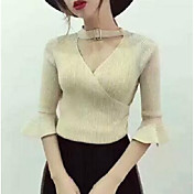 Mujer Corto Pullover Casual/Diario Un Color Escote Redondo Manga Larga Algodón Primavera Otoño Medio Microelástico