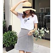 Mujer Simple Casual/Diario Camiseta,Escote en Pico Letra Manga Corta Algodón