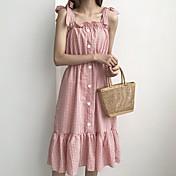 Mujer Corte Swing Vestido Casual/Diario Simple,Estampado Escote en U Midi Sin Mangas Rayón Verano Tiro Alto Microelástico Medio