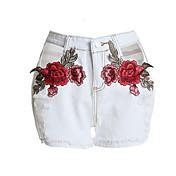 Mujer Chic de Calle Tiro Medio Inelástica Shorts Pantalones,Perneras anchas Bordado